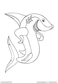 Great white shark colouring page