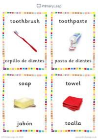 English to Spanish flashcards -  Bathroom objects