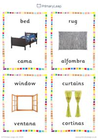English to Spanish flashcards -  Bedroom objects