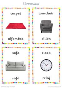 English to Spanish flashcards -  Living room objects