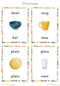 English to Spanish flashcards -  Kitchen objects