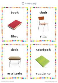 English to Spanish flashcards -  Classroom objects