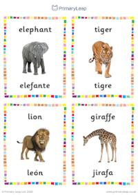English to Spanish flashcards -  Wild animals