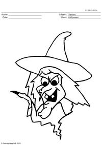 Halloween colouring picture - witch