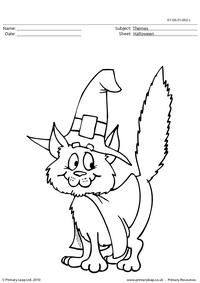 Halloween colouring picture - cat