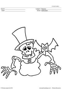 Halloween colouring picture - skeleton 1