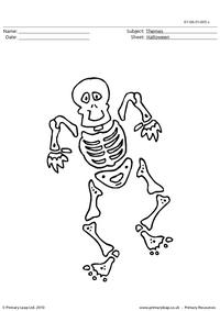 Halloween colouring picture - skeleton 2