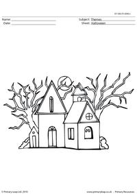 Halloween colouring picture - haunted house