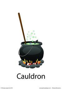 Halloween flashcard - cauldron