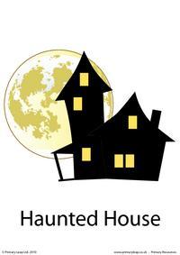 Halloween flashcard - haunted house