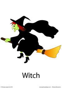 Halloween flashcard - witch