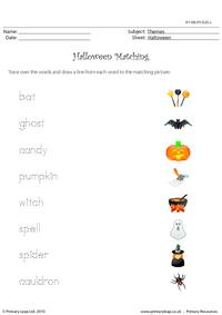 Halloween matching words and pictures