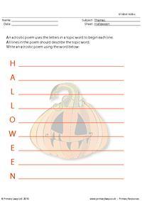 Halloween acrostic poem