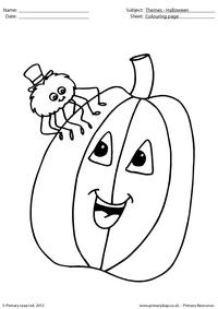 Halloween colouring picture - Spider with pumpkin