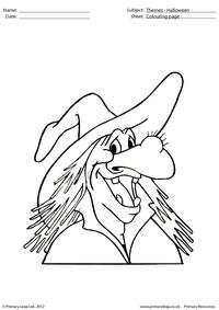 Halloween colouring picture - Witch with a wart