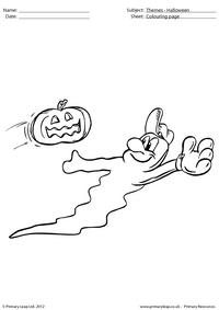 Halloween colouring picture - Ghost playing baseball