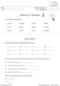 Spelling List - Halloween 2