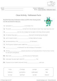 Cloze Activity - Halloween Facts