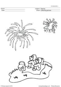 Colouring picture - fireworks