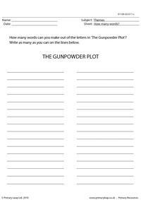 The gunpowder plot - How many words?