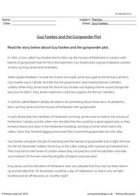 The gunpowder plot - fact sheet