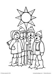 Colouring picture - Carol singers