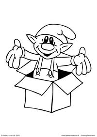 Colouring picture - Elf in a box