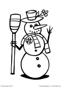 Colouring picture - Snowman with a broomstick