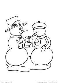 Colouring picture - Snowman with present