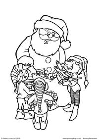 Colouring picture - Santa and his helpers