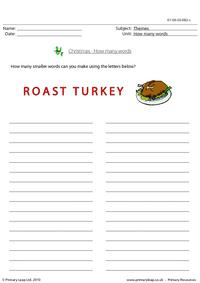 How many words - roast turkey