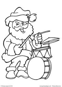 Colouring picture - Santa playing the drums!