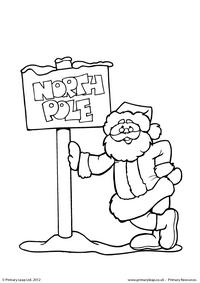 Colouring picture - Santa at the North Pole