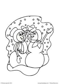 Colouring picture - Snowmen dancing
