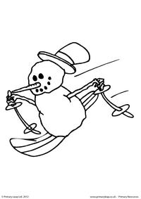 Colouring picture - Snowman skiing