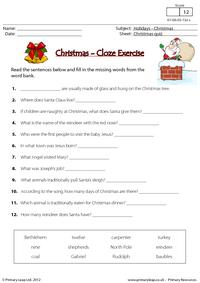 Christmas - Cloze exercise