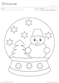 Christmas colouring page - Snow globe