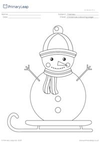 Christmas colouring page - Snowman