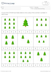 Christmas count and colour - How many Christmas trees?