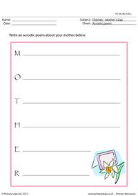 Mother's Day - Acrostic poem
