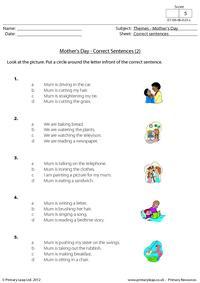 Mother's Day - Correct sentences 2