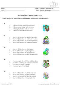 Mother's Day - Correct sentences 3