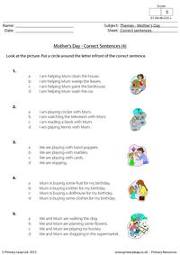 Mother's Day - Correct sentences 4