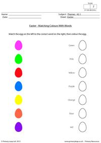 Easter - Matching colours with words