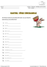 Easter - Word unscramble