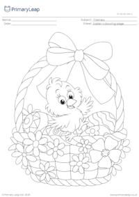 Colouring Page - Easter Chick in a Basket