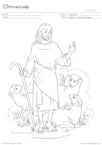Colouring Page - Jesus is a good shepherd