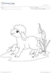 Colouring Page - Easter Lamb in a Meadow