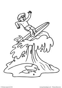 Boy surfing - Colouring page