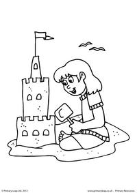 Girl with sandcastle - Colouring page